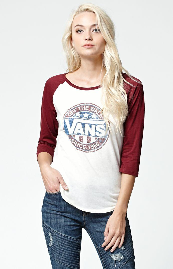 4ca97e4a43 Vans Circle Baseball T-Shirt - Womens Tee - Burgundy White