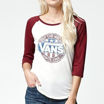 Vans Circle Baseball T-Shirt - Womens Tee - Burgundy/White