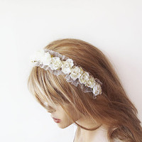 Bridal Flower Crown, İvory Floral Headband, Flower Headpiece, Garden Wedding, Weddings, Bridal Hair Accessory, Wedding Accessories