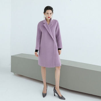 wool coat,wool jacket,purple coat,oversized coat,long wool coat,winter coat,winter jacket,minimalist,high fashion.--E0805
