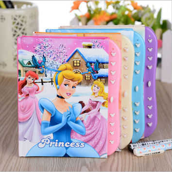Cute Kawaii Cartoon Notebook Lovely Princess Diary Book With Lock For Kids Gift Korean Stationery Free Shipping 2022