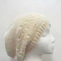 Slouch hat knitted creamy white beanie beret with eyelets 4769