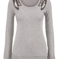 scoop neck sweatshirt with sequin shoulder