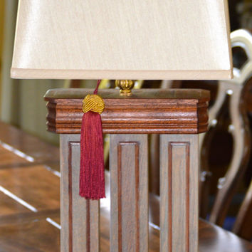 "Lamp, Handmade, 30"" T, Table,Gorgeous Solid Oak/MahoganyAccent, Mission Style, Perfect for that Special Spot in your Home!"