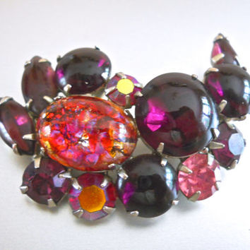 Signed Purple WEISS Brooch, Fire Opal & Purple-Pink Glass Cabochon, Vintage