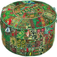 Green pouf Ottoman Bohemian Embroidered Footstool Decorative Tuffet bean bag banjara furniture Indian pouf foot stool chair cover pouffe