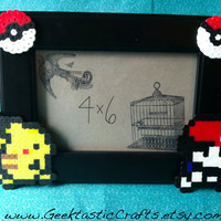 Ash and Pikachu Pokemon Perler Picture Frame (4x6) Geeky Frame