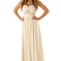 RESTOCK: MINUET: Beauty Is Endless Maxi Dress: Cream/Gold