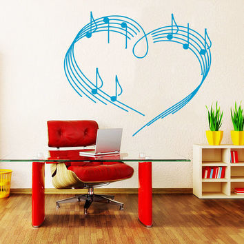 Wall Decal Vinyl Sticker Decals Art Home Decor Design Mural Heart Musical Notes Music Studio Treble Clef Bedroom Bathroom Dorm AN30