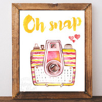 Retro camera print, vintage, photographer gift, watercolour, printable, photography, instant download, oh snap, wall art decor, watercolor