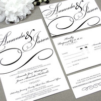 Black Tie Calligraphy Wedding Invitation Set by RunkPock Designs / Modern Script Swirl Formal Invitation shown in classic black and white