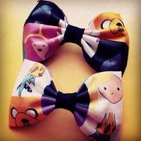 Adventure time block fabric bow tie or hair bow
