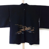 Vintage Black Silk Haori with Japanese Scenery Print/ Black Silk Jacket/ Kimono Jacket/ Vintage Silk Coat/ Traditional Costume JA0020VH