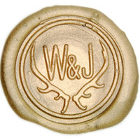 Antler Double Initials Wax Seal Stamp