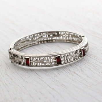 Antique Art Deco Ruby Red Stone Filigree Bracelet - Vintage 1920s Rhodium Plated Silver Tone Small Petite Hinged Bangle Jewelry / Crimson
