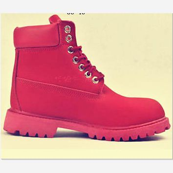 Timberland Rhubarb boots for men and women shoes waterproof Martin boots lovers Red-1