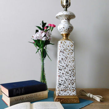 Mid Century Ceramic White and Gold Table Lamp