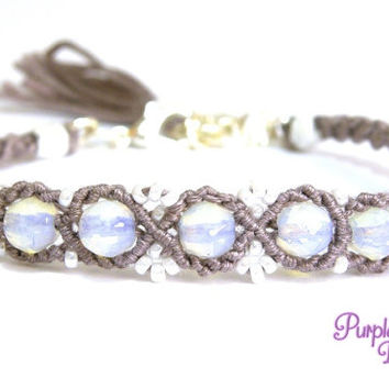 VIOLET Beaded Macrame Bracelet with White Opal Beads & Seed Beads, Woven Bracelet with Gemstone Beads - Grey/White