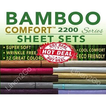 ⭐️⭐2200 COUNT BAMBOO, ULTRA COMFORT BED SHEET SET, EMBOSSED 4 PIECE ALL COLORS!⭐️⭐
