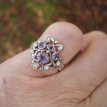 Amethyst ring,Vintage ring,filigree ring,delicate ring, seed pearl ring, Size 6 1/2