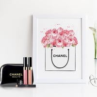 Coco Chanel Peonies Bag,Watercolor Flowers,Gift For Her,Fashion Art,Fashion Illustration,Watercolor Artwork,Chanel Bag Shopping,Chanel Art