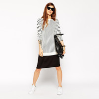 Black And White Striped Long Sleeves Knit Sweater