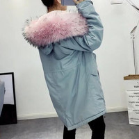 2016 Autumn new woman fashion Parkas with pink faux fur hood Fleece lining loose coat with pockets