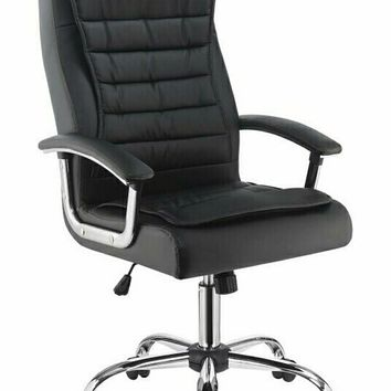 Chrome metal finish and black leatherette upholstered high back office chair