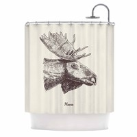 Moose - Black Beige Animals Illustration Shower Curtain