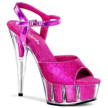 Hot Pink Glitter Ankle Strap Sandal Stripper Shoe 6 Inch Heel