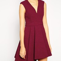 ASOS Skater Dress in Premium Bonded Texture with Plunge Neck