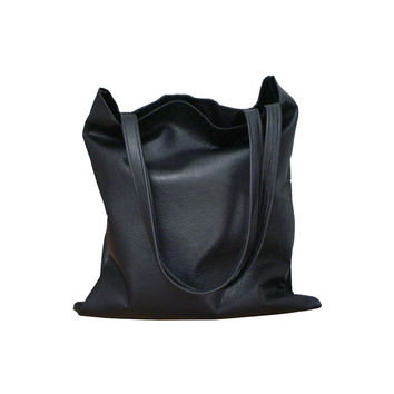Black leather tote bag, men, women, Every day bag, Large tote bag, matching accessories