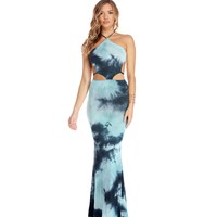Navy Tie Dye Babe Maxi Dress