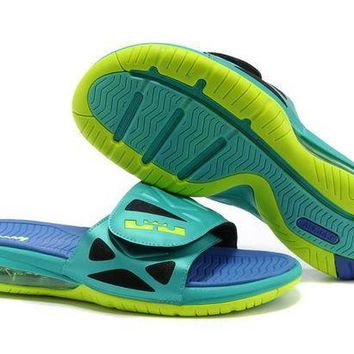 Nike Air LeBron Slide 78251460 Blue/Green Casual Sandals Slipper Shoes Size US 7-11