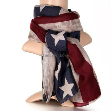 DCCKL3Z 2016 New American Flag Scarf Vintage USA Flags Infinity Scarves  Long Scarf Cotton for Men Women