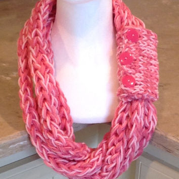 Pink Breast Cancer Awareness Pink Ribbon Finger Knit Chunky Infinity Chunky Winter Scarf