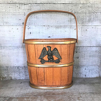 Basket Eagle Emblem Basket Wood Barrel Bucket Swing Handle with Brass Eagle Rustic Americana Wood Basket Magazine Basket Wood Bucket