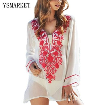 New Floral Embroidery Cover up Women Long Sleeve Sunscreen Bikini Tunic 2017 Summer Beachwear Bathing Suit Robe De Plage QS305