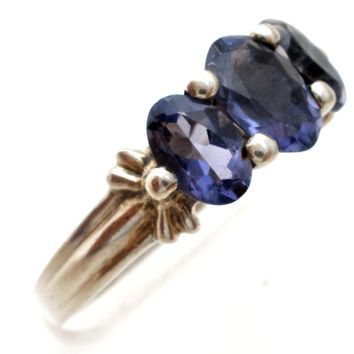 Three Stone Amethyst Ring Sterling Silver Size 6
