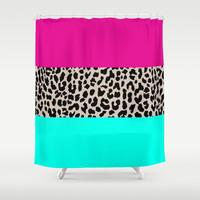Leopard National Flag Shower Curtain by M Studio