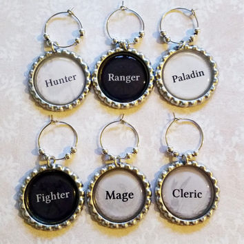 RPG Cosplay Character Classes Wine Charms Mage, Cleric, Paladin, Hunter, Fighter, Ranger Geekery Gift Hostess Gift Birthday Gift