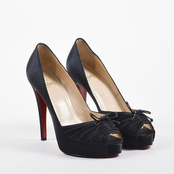 DCCK Christian Louboutin Black Satin Ruched Bow   Very Pli 120   Peep Pumps