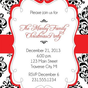 Damask Christmas Party Invitations