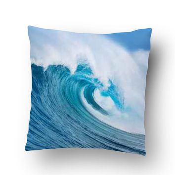 Ocean Wave Throw Pillow Case from Surfer Bedding