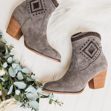 Jovi Suede Stitched Booties (Grey)