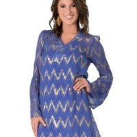 Rock 47™ by Wrangler® Women's Periwinkle Sheer Long Bell Sleeve Peasant Dress