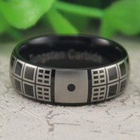 8mm Doctor Who Design Black Dome Band Tungsten Ring Size 6-12