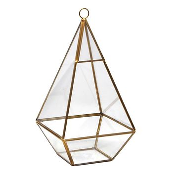 Gold Geometric Glass Terrarium Display Box, Teardrop, 9-1/2-Inch