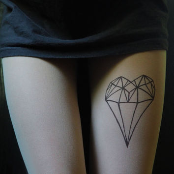 diamond heart, diamond heart tattoo, tights, tattoo tights