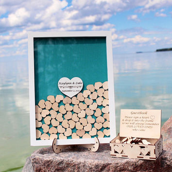 Wedding guest book alternative, Wedding guestbook Teal, Guest book hearts, Teal Drop top box, Wedding box, Wedding Sign,Wedding Gift